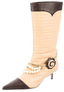Chanel Leather Textured Beige, Black Boots