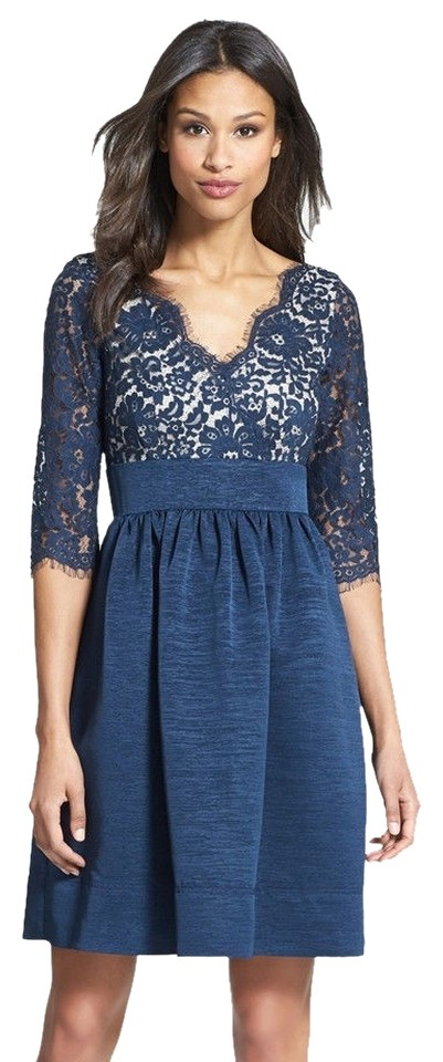 61f60595 Eliza J Blue Lace & Faille 3/4 Sleeve Formal Party Above Knee ...