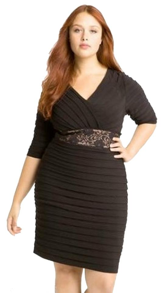 Adrianna Papell Black Lace Shutter Pleat Formal Short Cocktail Dress