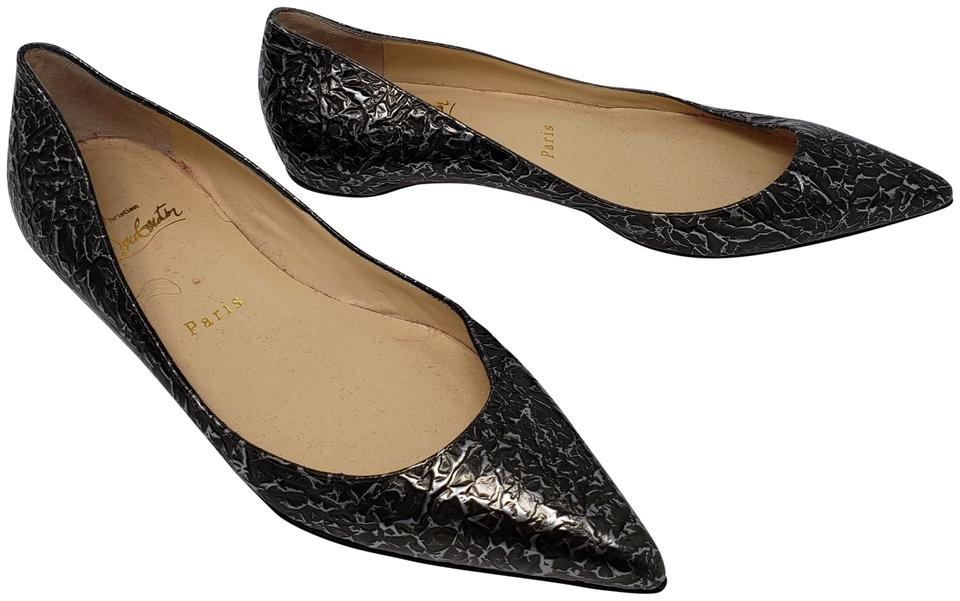 8b8525e165d Christian Louboutin Grey Brown Silver Embossed Leather Pointed-toe Flats.  Size  EU 37 ...