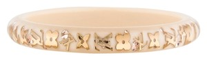 Louis Vuitton Clear, Beige, Gold LV logo floral monogram Louis Vuitton Inclusion bangle