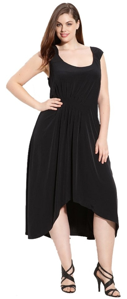 Adrianna Papell Black Asymmetrical Scoop Neck High-low Night Out Dress Size  20 (Plus 1x) 77% off retail