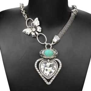 Turquoise Gemstone Bib Necklace Silver Tone J1929