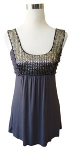 Velvet Silver Metallic Stud Top