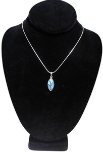 Other Sterling Silver Light Blue Shell Pendant Necklace 18 in. N128