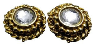 Chanel Vintage Gold and Large Crystal Rhinestone Statement Earrings
