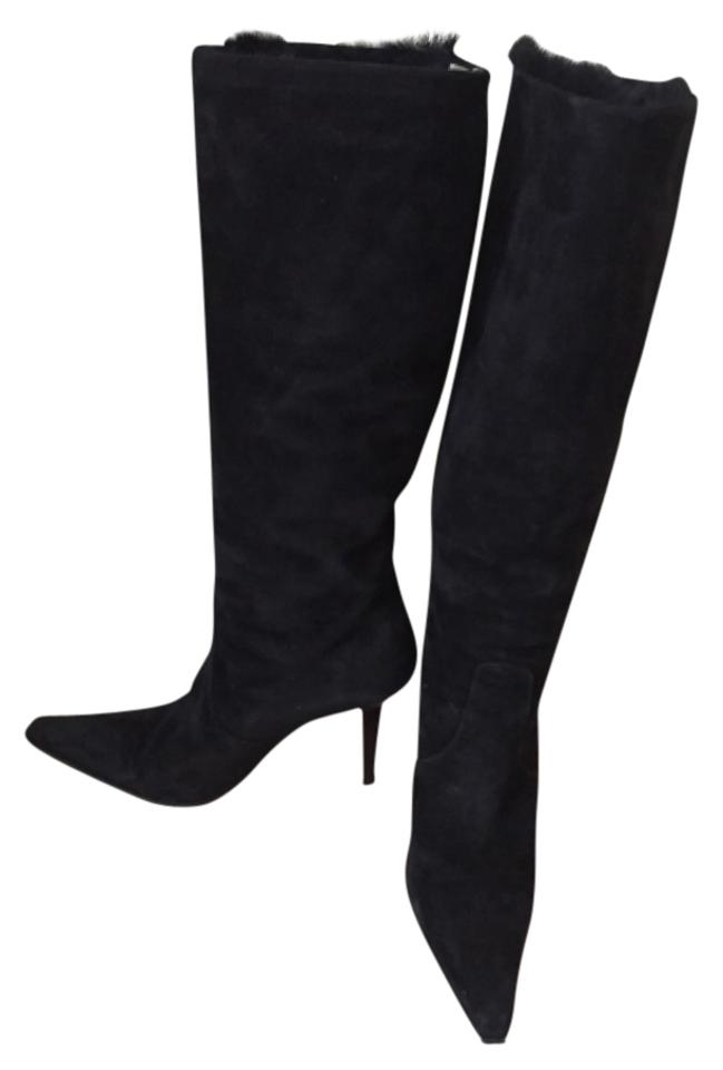 b0bd844f64bc Giuseppe Zanotti Blac Suede Knee High Shearling Fur Lining 38.5 Boots  Booties