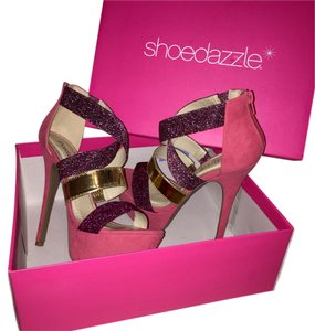 ShoeDazzle Anny Pink/Gold Platforms