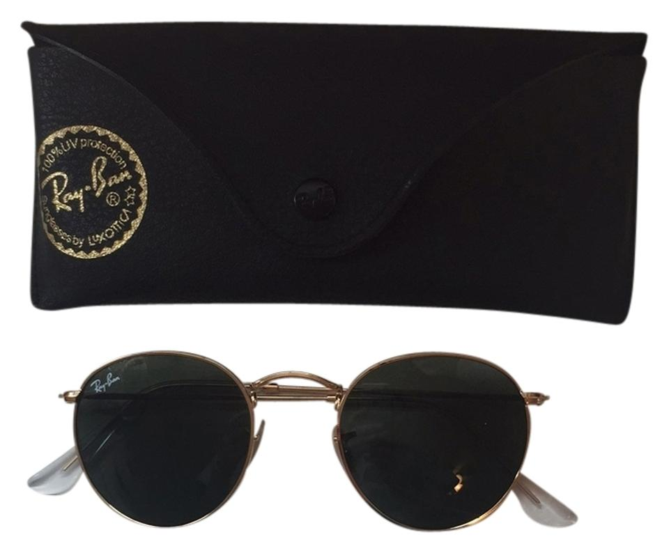 75cd883f4 Ray-Ban Gold with Green Lense Rb 3447 Round Metal 001 Sunglasses ...