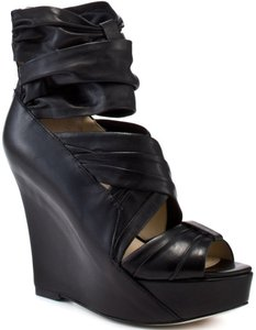 Boutique 9 Leather Wedge Bootie Sandal Black Wedges