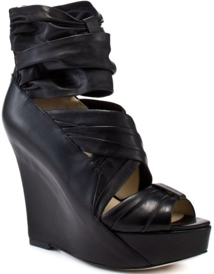Boutique 9 Leather Sandal Black Wedges