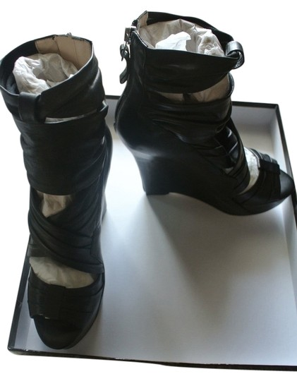 Boutique 9 Leather Bootie Sandal Black Wedges