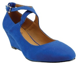 Red Circle Footwear Blue Wedges