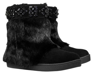 Tory Burch Bootie Rabbit Fur BLACK Boots