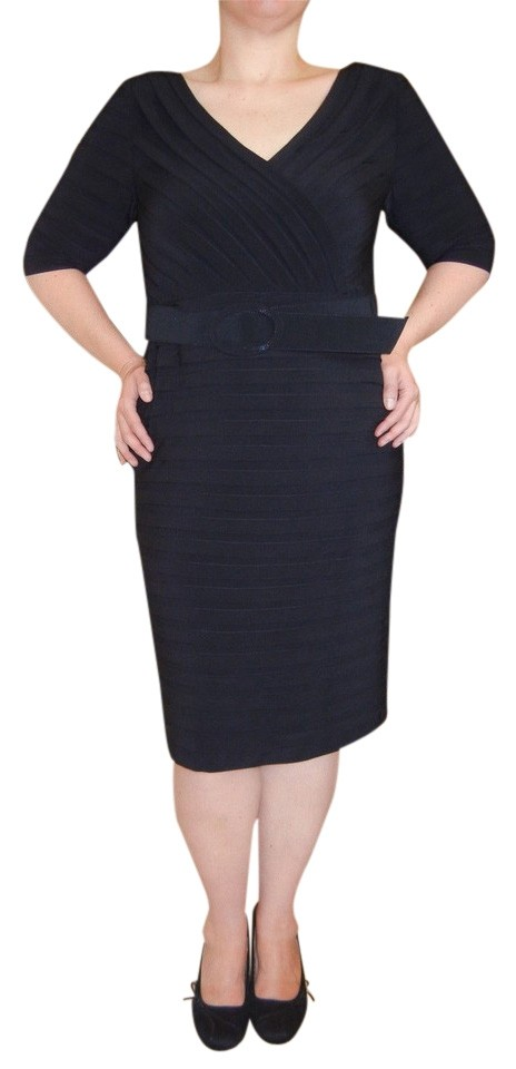 88ef6aaa341 Adrianna Papell Black Jersey Pleat Sheath Knee Length Night Out ...