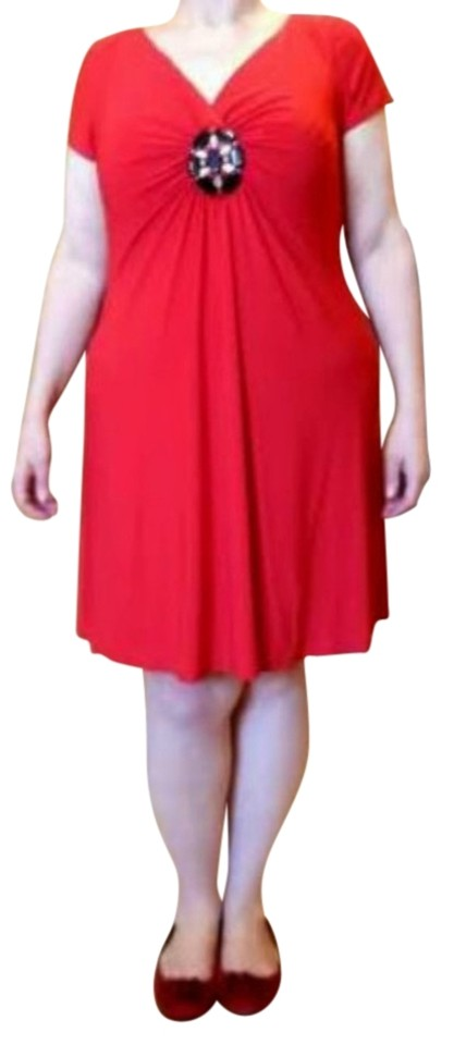 1674cbdce08 Ronni Nicole Red Slimming Built-in Shapewear Short Casual Dress Size ...