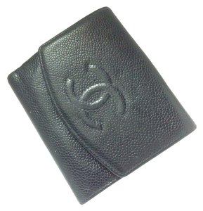 Chanel Classic Timeless Caviar Wallet Bifold CC French Purse Mini WOC A13496