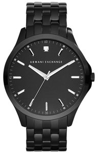 A|X Armani Exchange A|X Armani Exchange Men's Diamond Accent Black Ion-Plated Stainless Steel Bracelet Watch