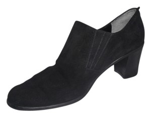 Aquatalia Suede Leather Stacked Heel Black Boots