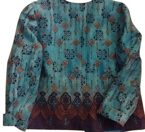 Coldwater Creek Turquoise with chocolate and black print Jacket