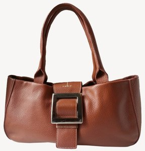 Adrienne Vittadini Pebbled Leather Rolled Handles Magnetic Flap Closure Soft Silver Chunky Square Silver Chrome Buckle Tortoise-style Satchel in Tan