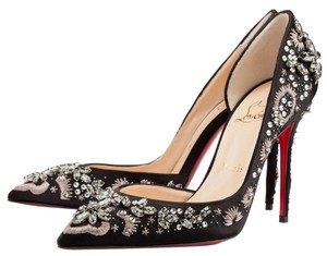 Christian Louboutin Embellished Crystal Formal Black Pumps