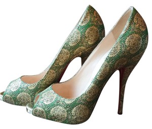 Christian Louboutin Stilleto Formal Green and Gold Pumps