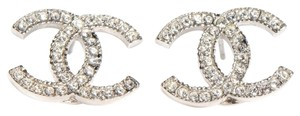 Chanel Chanel Earrings CC Logo Crystal Silver Hardware SHW Authentic Classic Box France Medium Large A42175 15V 2015 Current Model