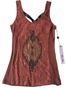 Miss Me The Buckle Cross Strap Embellished Top RUST
