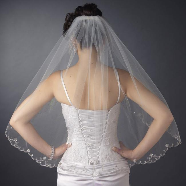 Item - Ivory/Silver Medium Elbow Length with Beaded Embroidery Bridal Veil