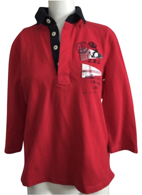 Item - Red Nautical Rugby Polo Embroidered Button-down Top Size 8 (M)