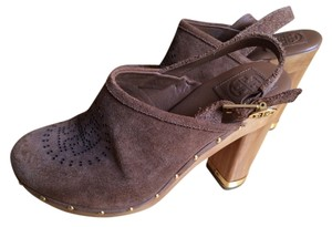 Tory Burch Suede Slingback Chunky Brown Mules