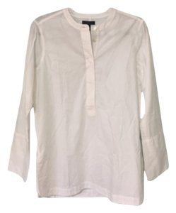 J.Crew Cotton Collarless Poplin Button Down Shirt WHITE