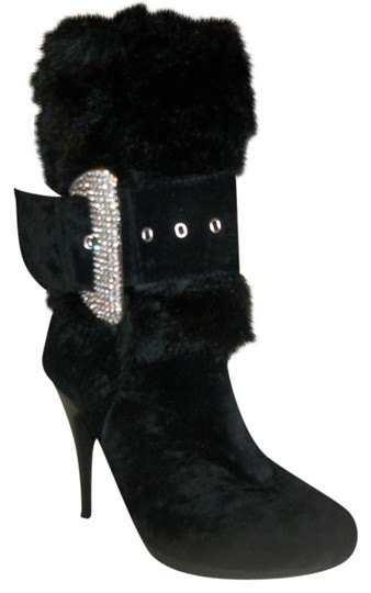 Rios of Mercedes Studded Diamond Fur Black Boots