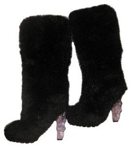 Chanel Fur Runway Catwalk Snow Apres Black Boots