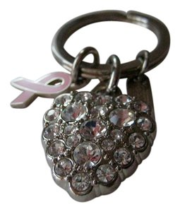 Coach Pave Rhinestone Breast Cancer HEART Key Fob Charm