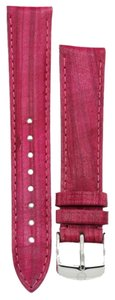 Michele MS18AA430653 Michele 18mm Raspberry Genuine Leather Strap Band