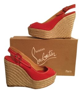 Christian Louboutin Menorca Red Wedges
