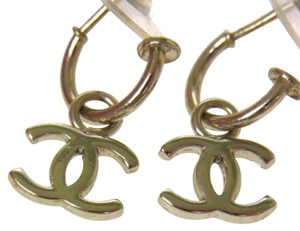 Chanel AUTHENTIC CHANEL VINTAGE CC LOGOS PIERCE SILVER ACCESSORIES Earrings
