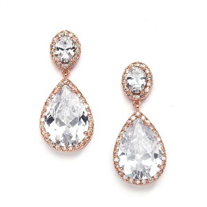 Hollywood Glamour Rose Gold Crystal Pear Drop Bridal Earrings