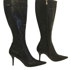Sacha London Leather Knee Silver Grommets Black Boots