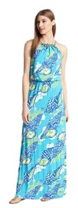 Turquoise. White and blue Maxi Dress by Lilly Pulitzer Resort Tropical