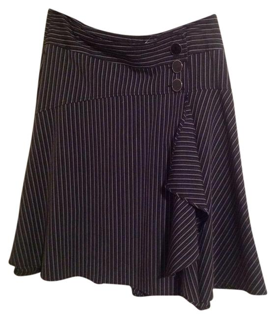 New York & Company Pinstripe Skirt Black Striped