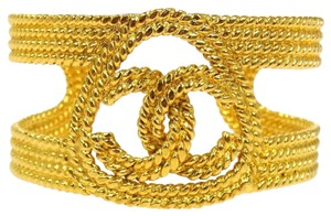 Chanel AUTHENTIC CHANEL VINTAGE CC LOGOS GOLD-TONE BANGLE 28 FRANCE ACCESSORIES bracelet