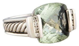 David Yurman David Yurman Sterling Silver Deco Prasiolite and Diamond Ring Size 6.0