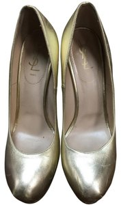 Saint Laurent Ysl Metallic Leather Gold Pumps