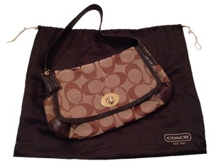 Coach Leather Fabric Brown Shoulder Bag