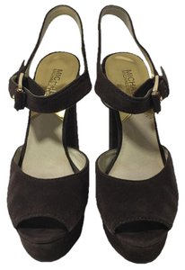 Michael Kors Suede Brown Heels COFFEE Platforms