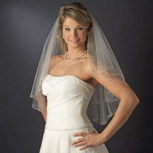 Elegance By Carbonneau Two Layer Beaded White Elbow Length Wedding Veil With Crystals