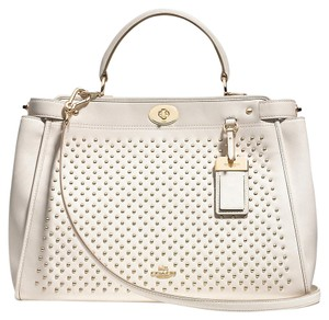 Coach Leather Studded Gold Chalk Satchel in Light Gold/Chalk